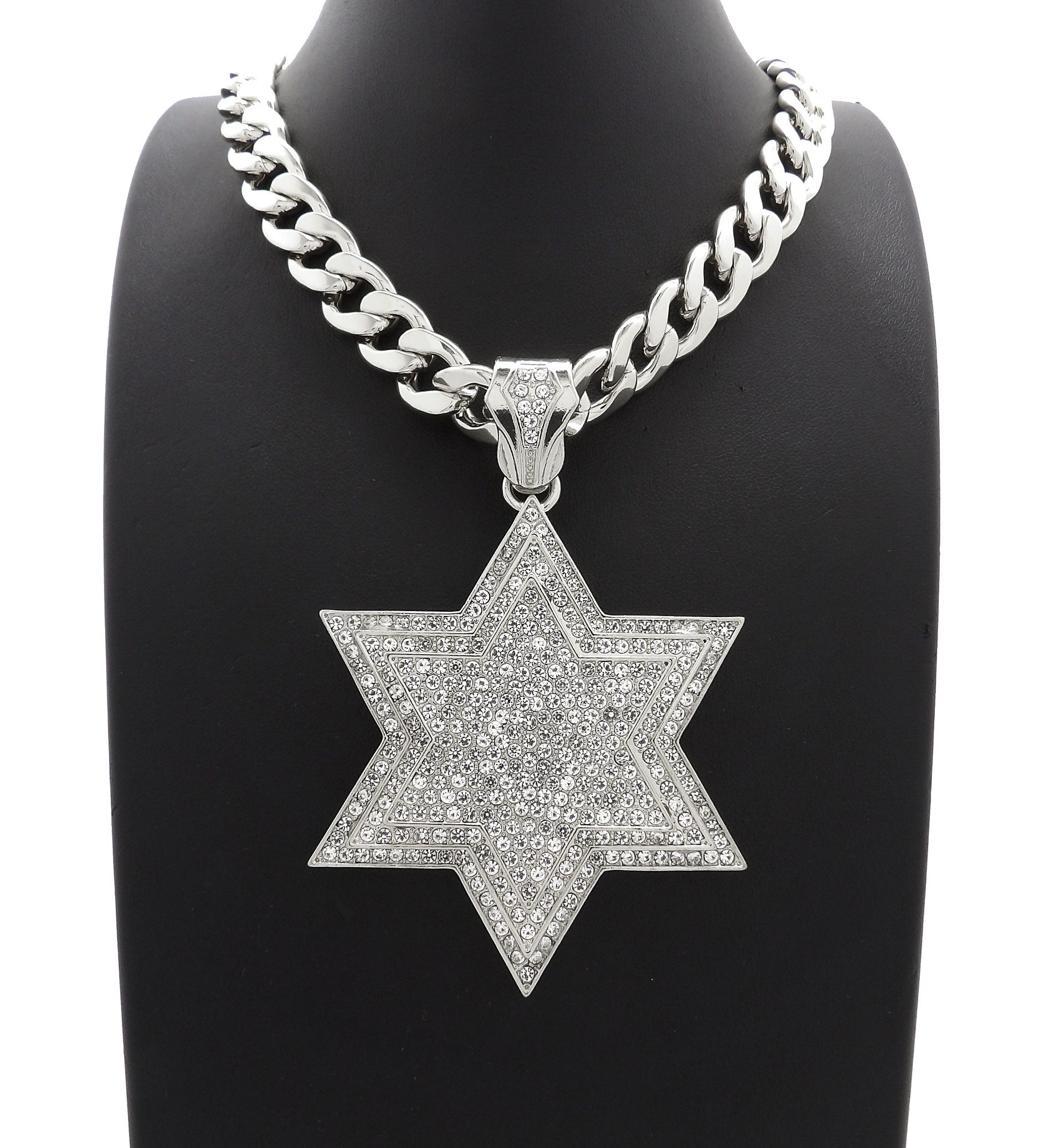 NYFASHION101 Stone Stud Mob Pendant with 11mm Cuban Chain Necklace