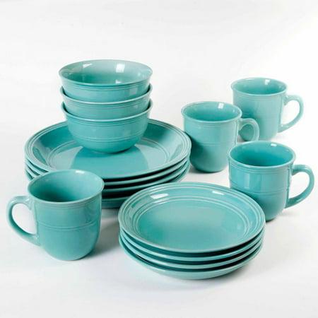 Mainstays 16 piece round dinnerware set for Kitchen set plates