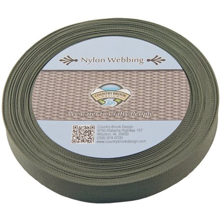 Country Brook Design® 1 Inch Olive Drab Green Lite Weight Nylon Webbing (Thin Nylon Webbing)