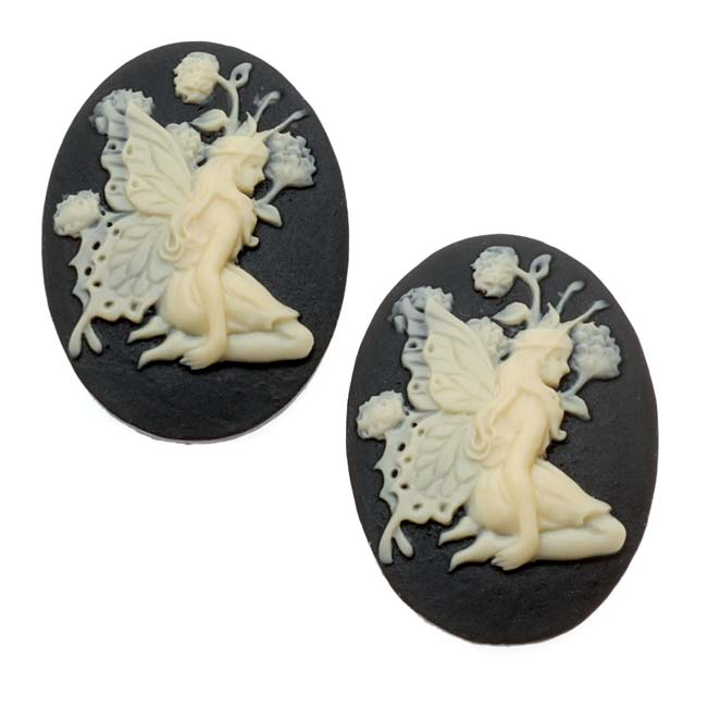 Lucite Oval Cameo - Black With Ivory Fairy And Flowers 25x18mm (2 Pieces)