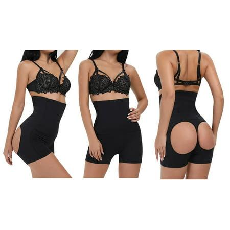 (Shape Mi Women's Seamless Hi-Waist Tummy Control Open Butt Lift Boyshort)