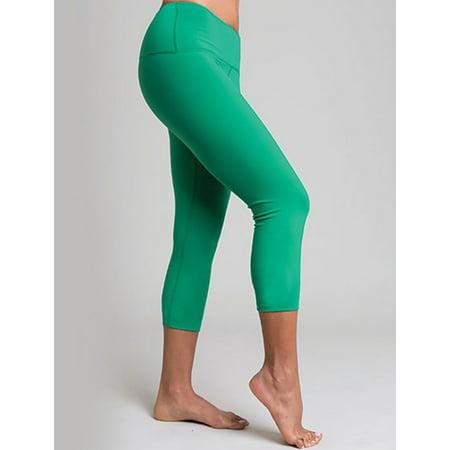 Green Three-Quarter Legging Yoga Pants - L