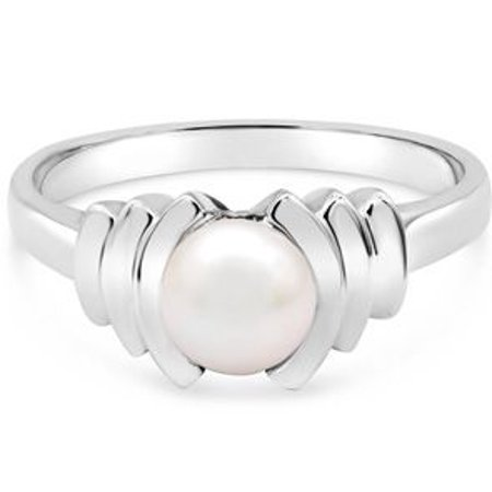 Round Freshwater Cultured Pearl Ring In 14 Karat White Gold Size 5