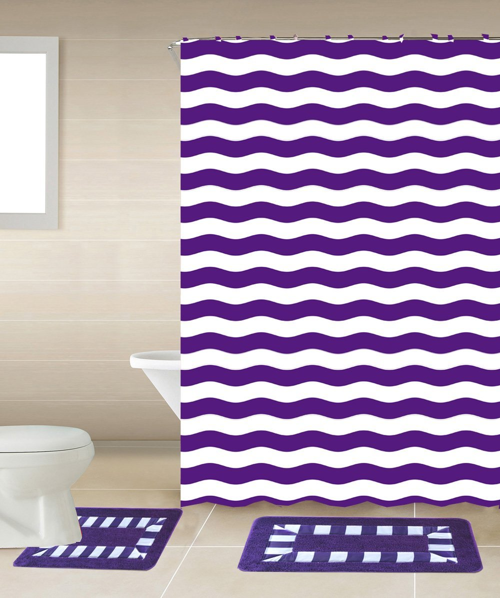 Striped Purple & White 15-Piece Bathroom Accessory Set: 2 Bath Mats, Shower Curtain & 12... by