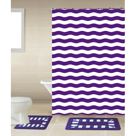 15pc PURPLE STRIPED Bathroom Set Printed Banded Rubber Backing Rug Bath Mats With Fabric Shower Curtain Hooks New Designs