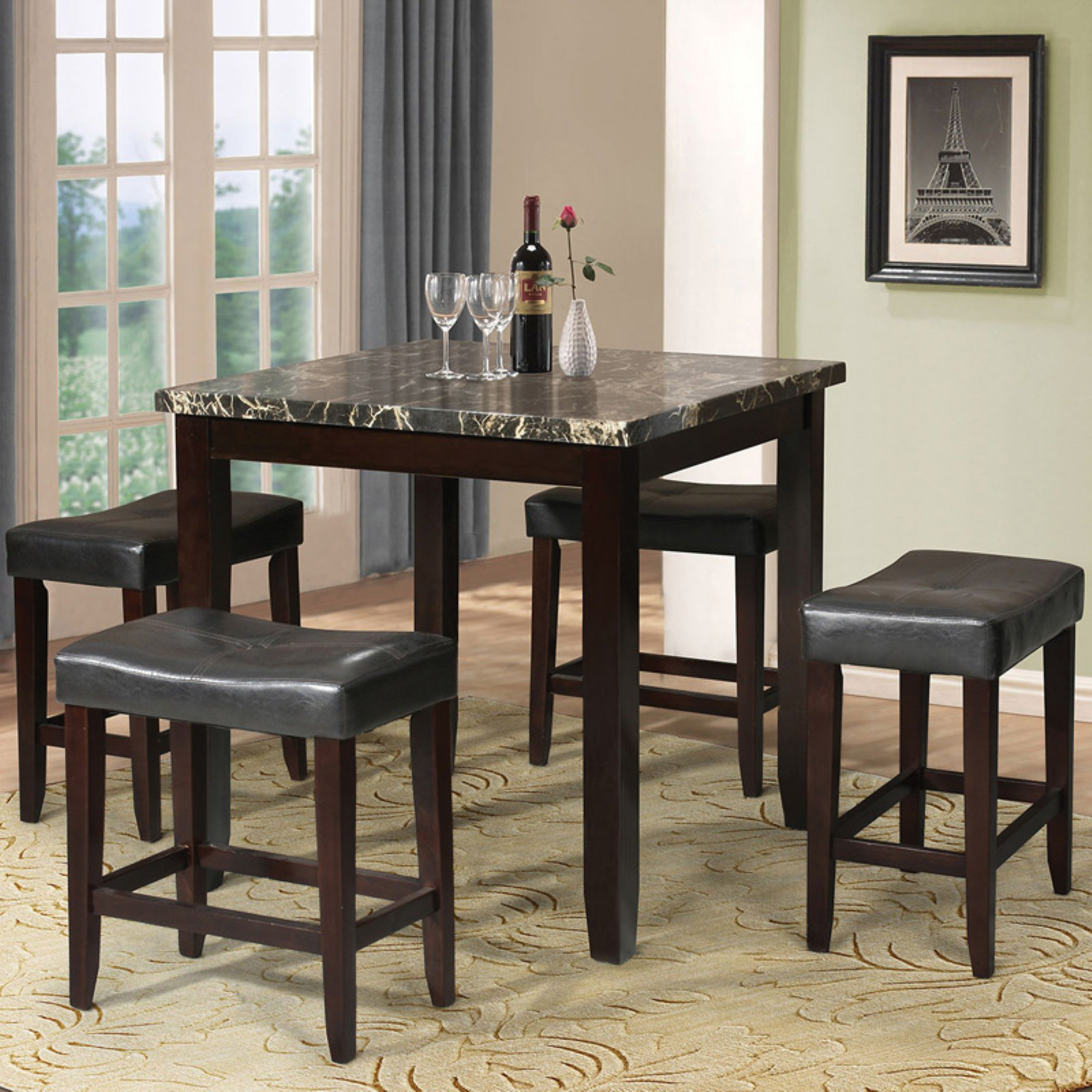Acme Ainsley 5-Piece Counter-Height Dining Set, Black Faux Marble and Espresso