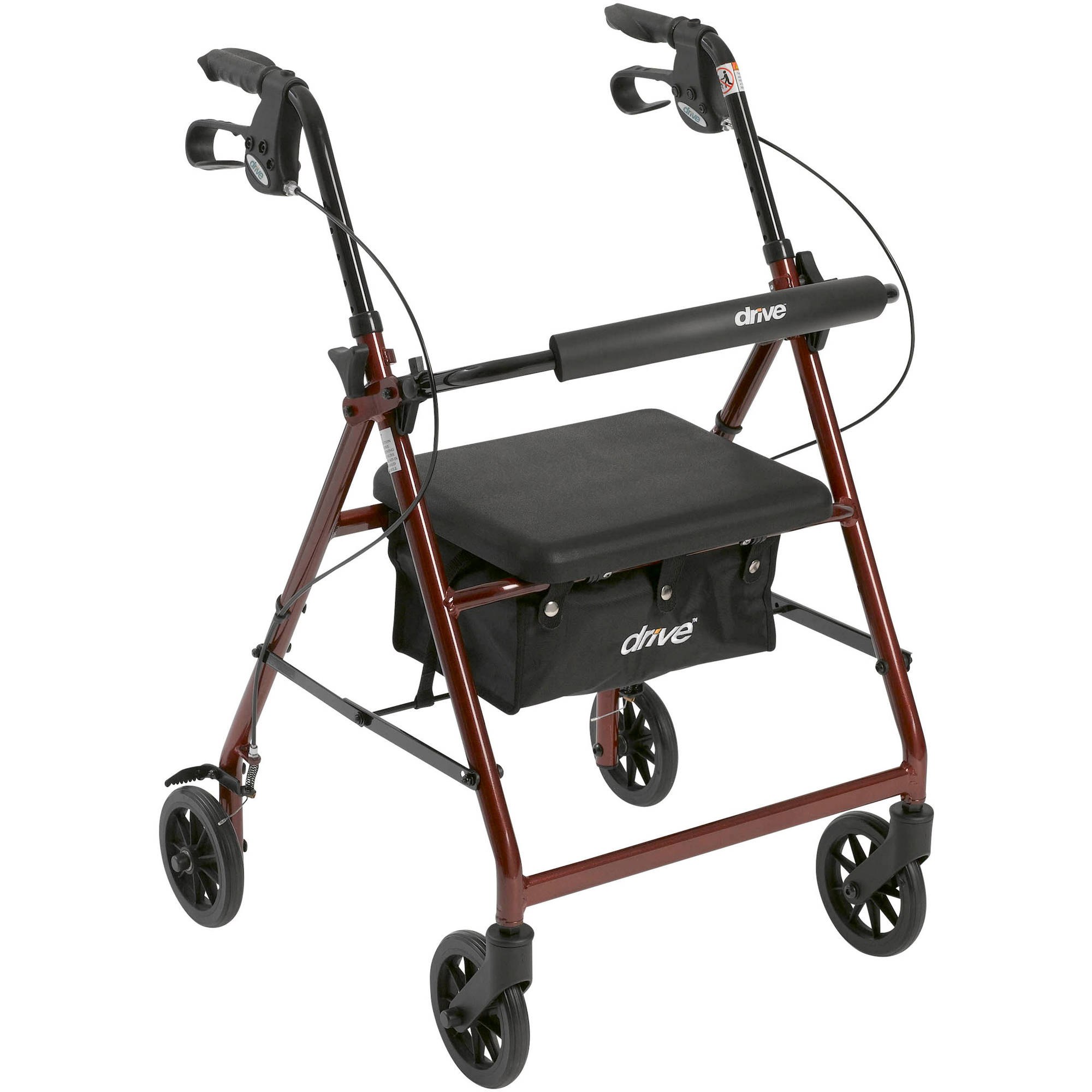 "Drive Medical Walker Rollator with 6"" Wheels, Fold Up Removable Back Support and Padded Seat, Red"