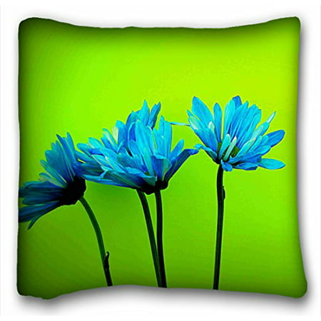 WinHome Teal Turquoise Daisies Flowers Lime Green Throw Pillow Case Cases Cover Cushion Covers Sofa Size 18x18 Inches Two Side