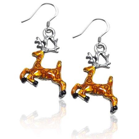 Reindeer Charm Earrings in Silver