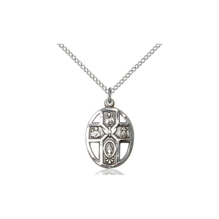 925 Sterling Silver 5 Five Way With Miraculous Virgin Mary Sacred Heart Of Jesus Saint Joseph Saint Christopher Holy Spirit 3 4X1 2  Medal Pendant On A 18 Sterling Silver Chain Necklace Gift Boxed