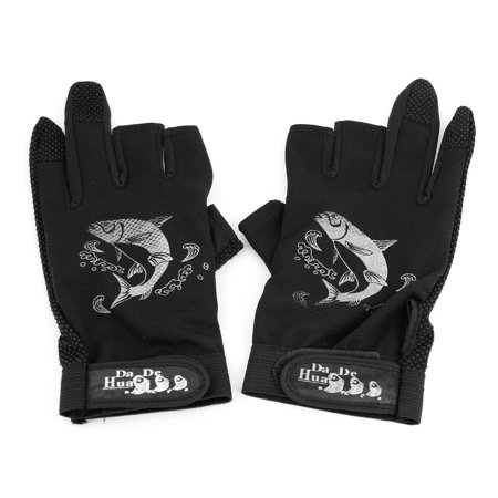 Unique Bargains Pair Fisherman Hook Loop Rubberized Nonslip Black Fishing Gloves](Hoof Gloves)