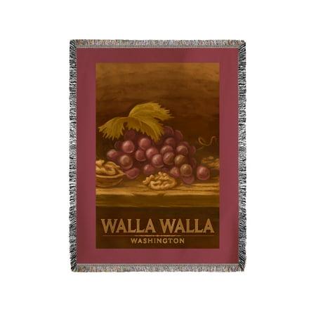 Walla Walla  Washington   Red Grapes   Walnut   Oil Painting   Lantern Press Artwork  60X80 Woven Chenille Yarn Blanket