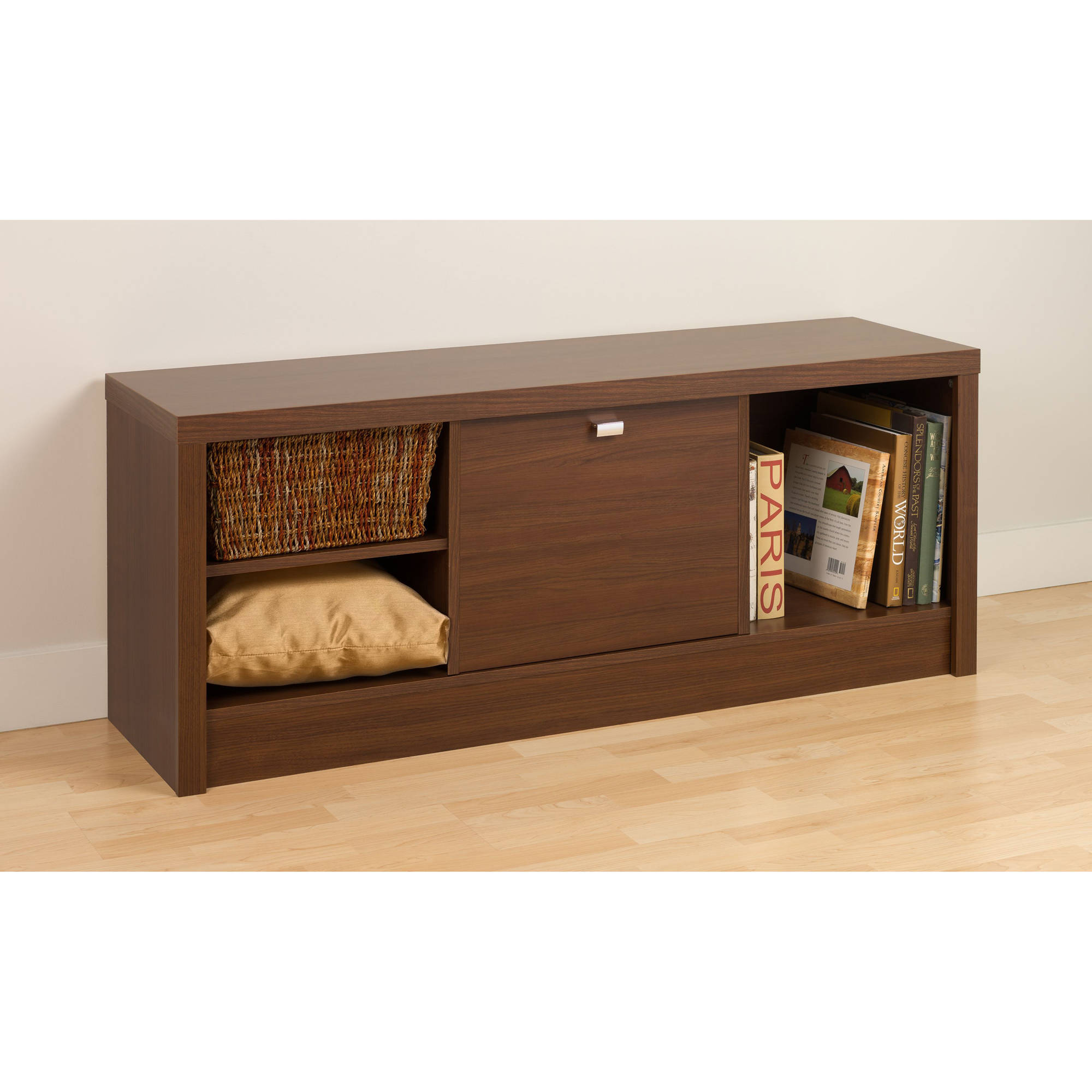 Prepac Series 9 1-Door Cubbie Bench, Medium Brown Walnut