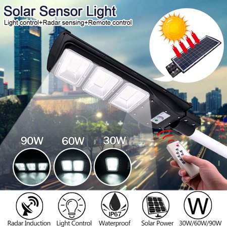 Image of Waterproof 60W 90W 4-in-1 180LED Polycrystalline Solar Street Wall Light R adar Induction + Remote Control + Light Control Dusk To Dawn Outdoor IP67 For Garage/Courtyard/Garden