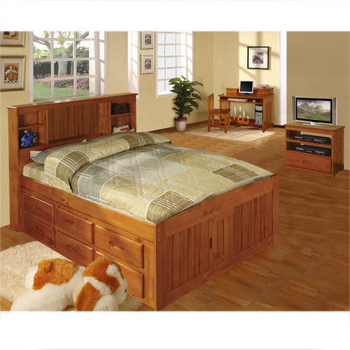 american furniture classics full sized platform bed with bookcase headboard and six drawers of storage in