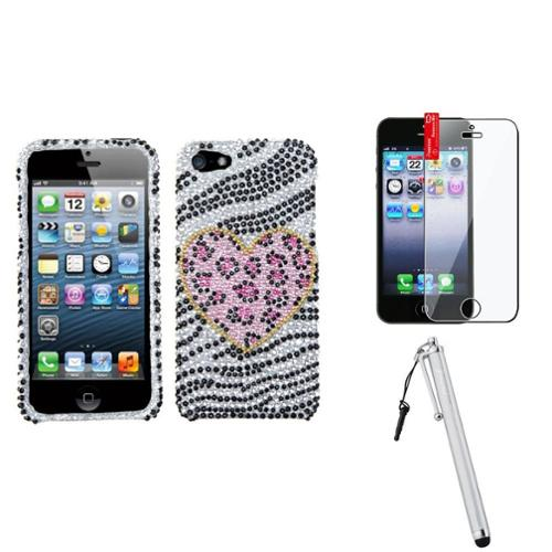 Insten Playful Leopard Diamante Case For iPhone 5 / 5s + Stylus + LCD Film