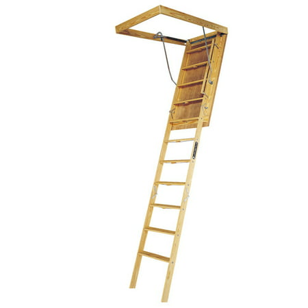 Louisville Ladder L305P 10 ft. Wood Attic Ladder, 350 lbs. Load Capacity