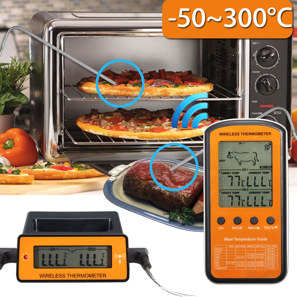 Wireless Remote LCD Digital Cooking Food Meat Thermometer with Dual Probe for Two Separate Parts Suitable for BBQ, Oven, Smoker, Candy, Meat, Food, Liquid, Milk