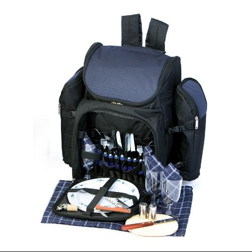 31-Piece Backpack Picnic Set for 4 with Dual Detachable Wine Carriers - NAVY