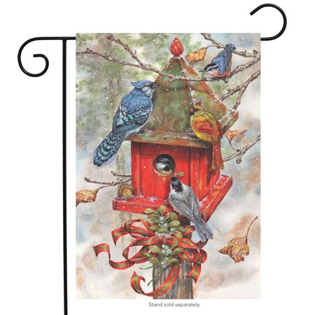 Winter Birdhouse Garden Flag Blue Jays Chickadees Cardinal 12.5