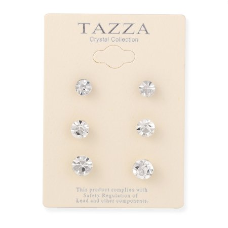TAZZA WOMEN'S SILVER CRYSTAL 8MM 7MM AND 6MM SET OF 3 STUD EARRING Crystal 6 Mm Stud