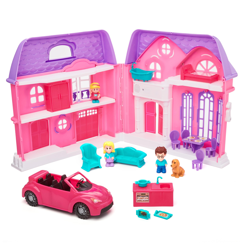Kid Connection Folding Dollhouse Play Set Pink Purple 20 Pieces Walmart Com Walmart Com