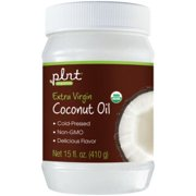 plnt Organic Extra Virgin Coconut Oil  Cold Pressed, NonGMO  Perfect For Cooking, Delicious Flavor, 30 Servings per Container (15 Ounces Solid)