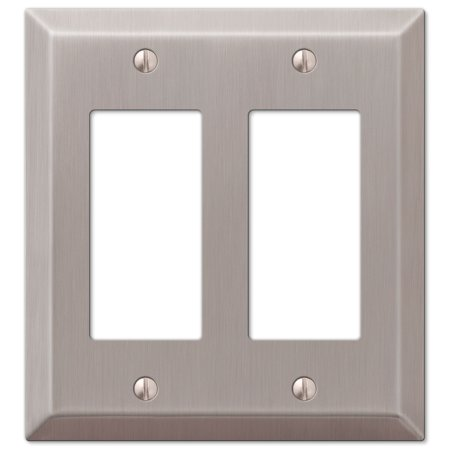 Double Gfci Solid Brass - Double GFCI Rocker 2-Gang Decora Wall Switch Plate, Brushed Nickel