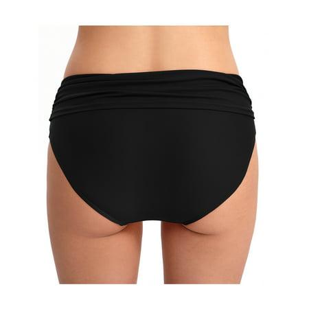 Women Sexy High Waist Beach Bikini Trunks Ruched Tummy Control Tankini Shorts Swimming Bottom Bathing Suit (Bikinis Solid Ruched Bikini)