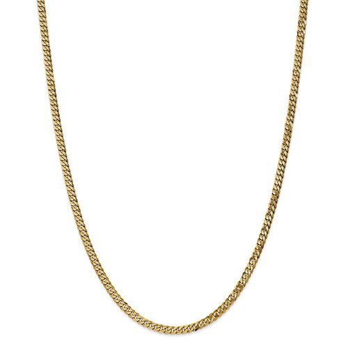 14k Yellow Gold 24in 3.9mm Flat Beveled Curb Necklace Chain by Jewelrypot