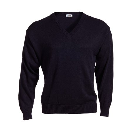 Penguin Jersey Sweater - Ed Garments Stylish V-Neck Jersey Stitch Sweater, NAVY, Small