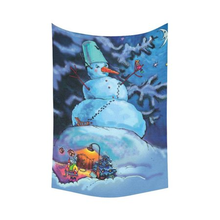 PHFZK Winter Snowman Wall Art Home Decor, The Happy New Year Merry Christmas Tapestry Wall Hanging 60 X 90 Inches