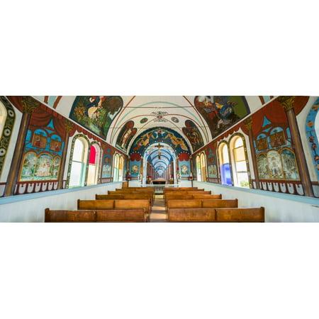 Interiors of a church Star of the Sea Painted Church Kalapana Hawaii USA Poster (Star Of The Sea Church Long Branch)
