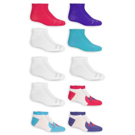 Fruit of the Loom Girl's Low Cut Socks, 10 Pack, Sizes S-L