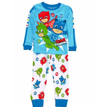 Toddler Boys Blue & White Team PJ Masks Pajamas Cotton Knit Sleep - Team Spirit Wear