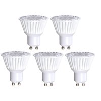 5 Pack Bioluz LED GU10 LED Bulb 50W Replacement (Uses only 6.5 watts) Dimmable 3000K 120v UL Listed