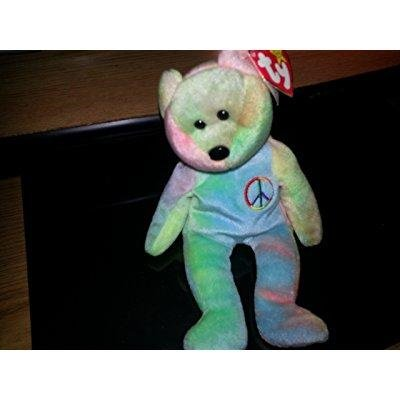 Peace the Neon Ty-Dyed Teddy Bear - MWMT Ty Beanie Babies](Shih Tzu Teddy Bear Halloween)