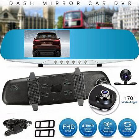 Winksoar 4.3inch 1080P HD Dual Lens G-sensor 170° Rear View Mirror Car DVR Parking Camera Recorder Dash Cam Night Vision Driving Recorder