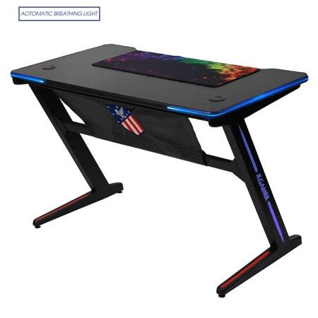 Kinsal 【Upgrade】 Z-Shaped Gaming Desk Computer Desk Table Fighting RGB LED Breathing Light, Racing Table E-Sports Durable Ergonomic Comfortable PC Desk (Black)