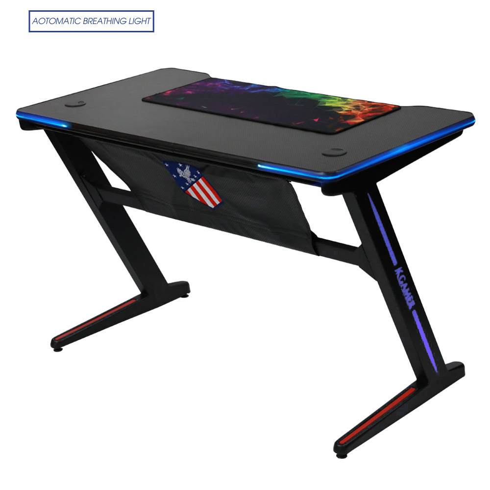 Beau Kinsal 【Upgrade】 Z Shaped Gaming Desk Computer Desk Table Fighting RGB LED  Breathing Light, Racing Table E Sports Durable Ergonomic Comfortable PC ...