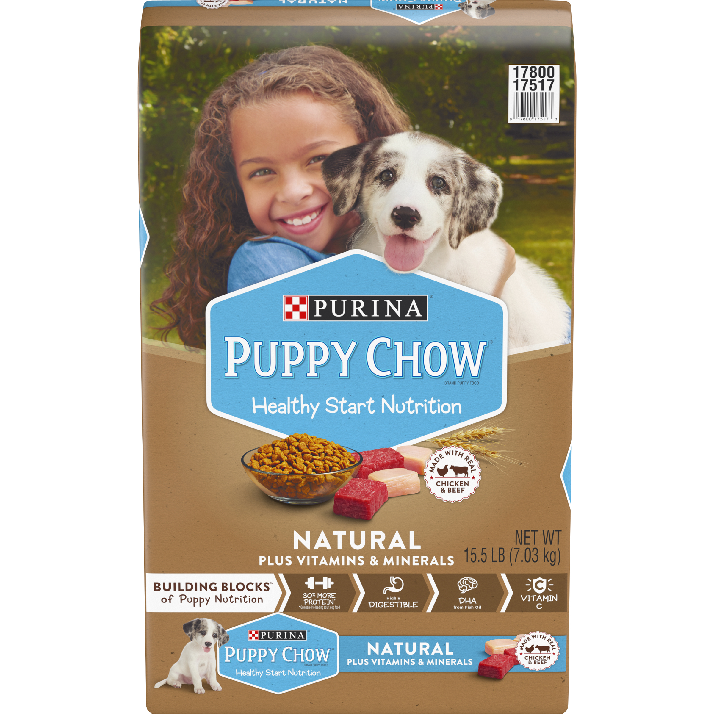 Puppy Chow Natural With Real Chicken & Beef Plus Vitamins & Minerals Dry Puppy Food - 15.5 lb. Bag