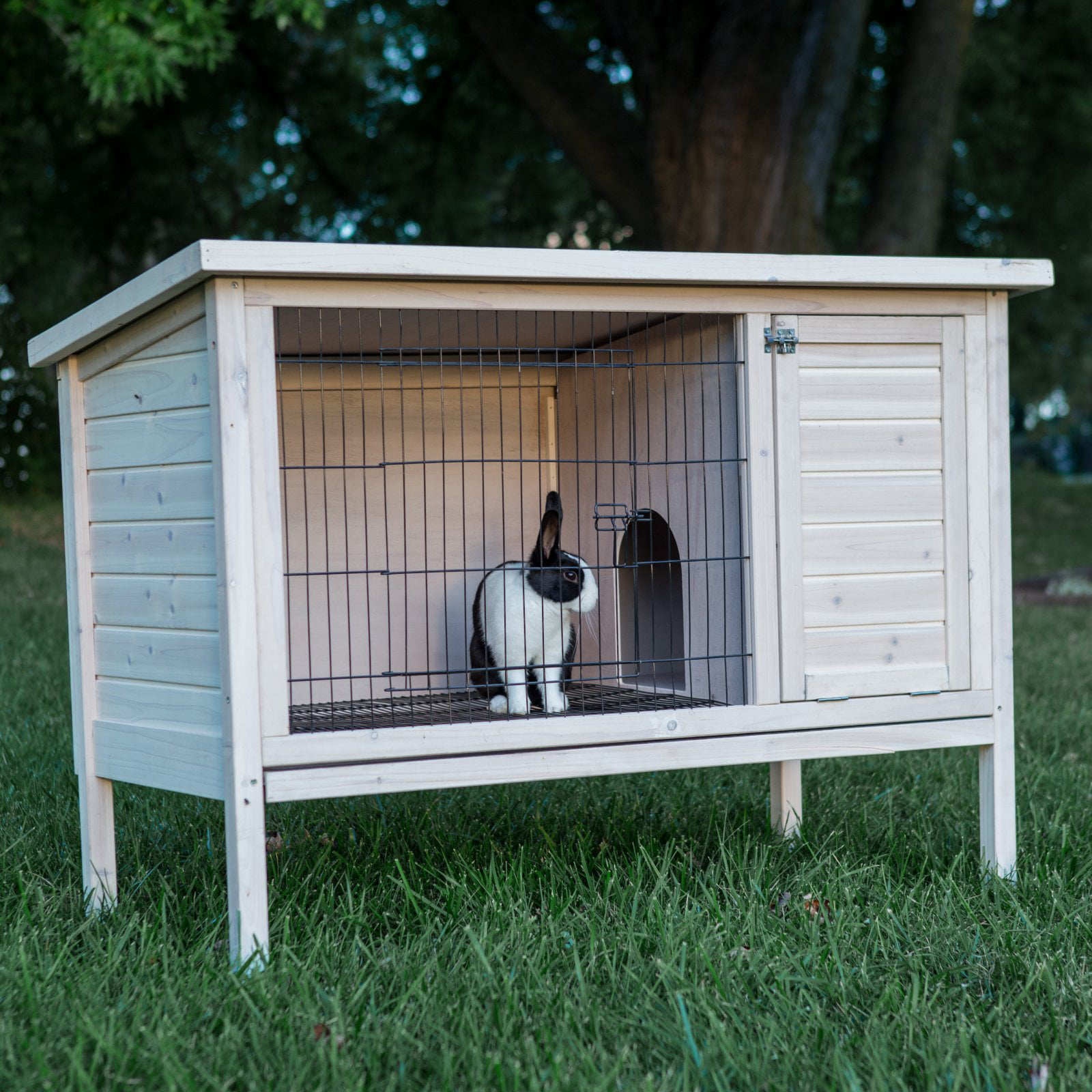 Boomer & George Elevated Outdoor Rabbit Hutch White Wash by