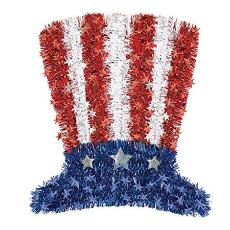 AMSCAN OLD GLORY FOURTH OF JULY PARTY 17.5 X 16 ,MULTI COLOR UNCLE SAM TINSEL HAT DECORATION (Uncle Sam Party)