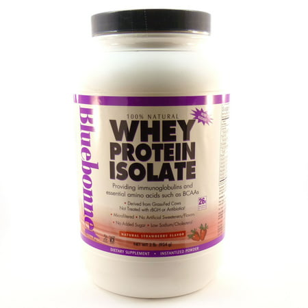 Whey Protein Isolate Strawberry Flavor By Bluebonnet - 2 Pounds