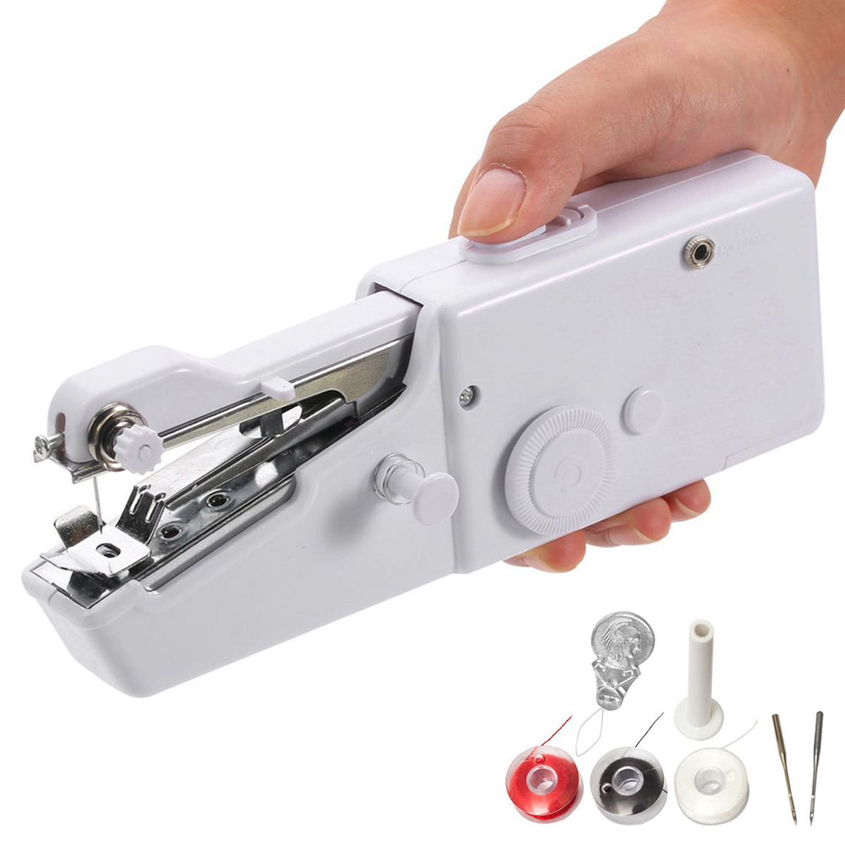 EEEKit Mini Electric Cordless Handheld Sewing Machine Professional Portable Quick Stitch Tool for Fabric, Clothing, or K