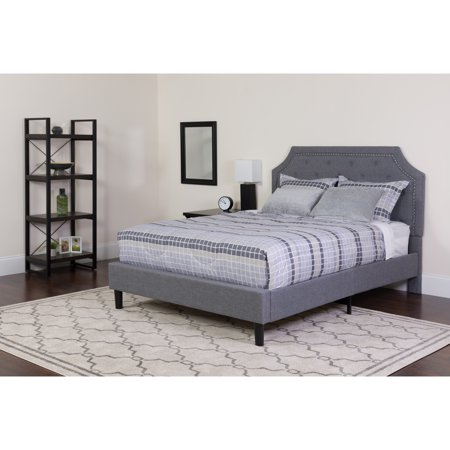 Flash Furniture Brighton Queen Size Tufted Upholstered Platform Bed in Light Gray Fabric with Memory Foam - Brighton Platform