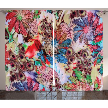 Peacock Decor Curtains 2 Panels Set, Colorful Decorative Floral Artwork With Peacock Feather Patterns And Leaves Print, Living Room Bedroom Accessories, By Ambesonne