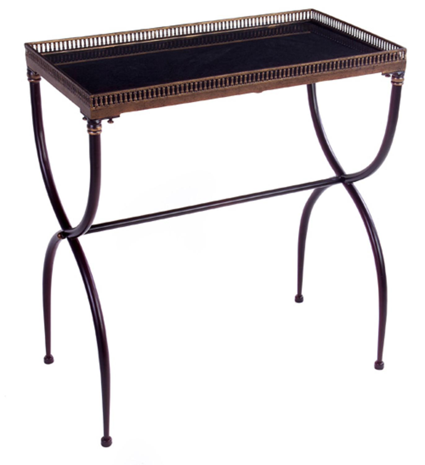 "28"" Rectangular Black Table with X-Shaped Legs and Tray-Like Top"