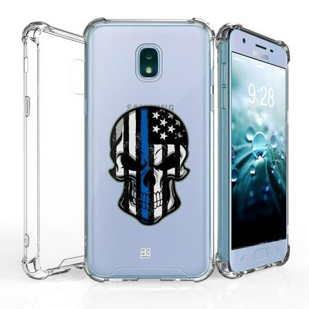 AquaFlex Shock Bumper Design Protection Phone Cover Case and Atom Cloth for Samsung Galaxy J7, J7 V 2nd Gen 2018 - Thin Blue Line Skull