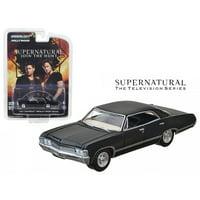 """1967 Chevrolet Impala Sport Sedan Black """"Supernatural"""" (2005) TV Series 1/64 Diecast Model Car by Greenlight"""